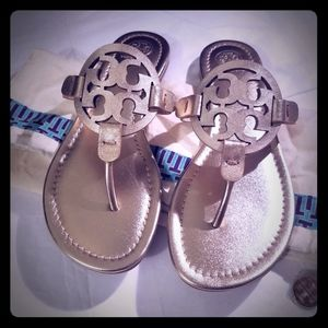 Tory Burch Miller Metallic Lthr Sandals - NWOB